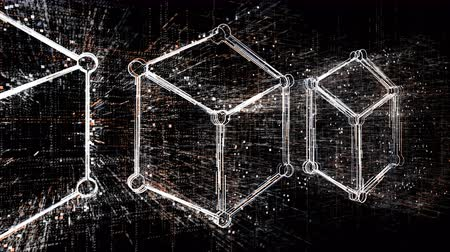 blokkok : 4k Blockchain symbol.3d box,chain and box,Cripto currency bitcoin.The Matrix style binary computer code,changing from zero to one digits,Global internet worldwide.abstract future tech background.