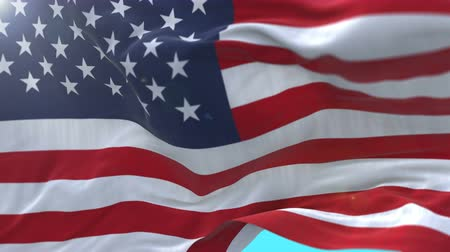 em branco : seamless American Flag Slow Waving with visible wrinkles.Close up of UNITED STATES flag.usa,A fully digital rendering,The animation loops at 20 seconds.flag 3D animation with alpha channel included.