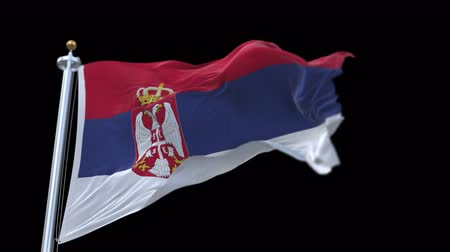 yugoslavia : 4k seamless Serbia flag waving in wind.A fully digital rendering,The animation loops at 20 seconds.flag 3D animation with alpha channel included. Stock Footage