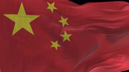 peking : seamless Close up of china Flag Slow Waving with visible wrinkles.A fully digital rendering,The animation loops at 20 seconds.flag 3D animation with alpha channel included.