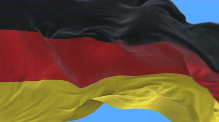 birleşik : 4k seamless Close up of German flag slow waving with visible wrinkles.A fully digital rendering,The animation loops at 20 seconds.flag 3D animation with alpha channel included.