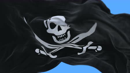 territorial : 4k seamless Close up of pirate flag slow waving with visible wrinkles.A fully digital rendering,The animation loops at 20 seconds.flag 3D animation with alpha channel included.