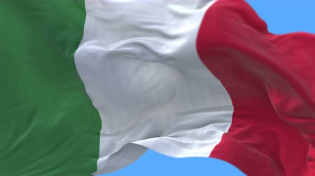 retro revival : 4k seamless Close up of Italy flag slow waving with visible wrinkles.A fully digital rendering,The animation loops at 20 seconds.flag 3D animation with alpha channel included.