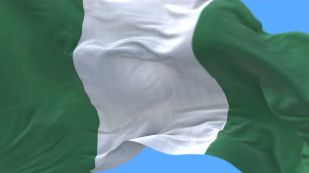 abuja : 4k seamless Close up of nigeria flag Slow waving with visible wrinkles.A fully digital rendering,The animation loops at 20 seconds.flag 3D animation with alpha channel included.