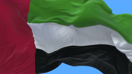 ue : 4k seamless Close up of United Arab Emirates flag slow waving with visible wrinkles.A fully digital rendering,The animation loops at 20 seconds.flag 3D animation with alpha channel included.