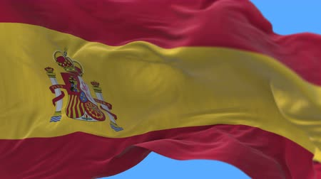 papyrus : 4k seamless Close up of Spain flag slow waving with visible wrinkles.A fully digital rendering,The animation loops at 20 seconds.flag 3D animation with alpha channel included. Stock Footage