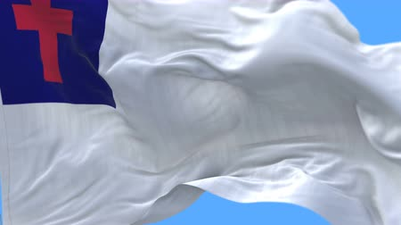 baptism : 4k seamless Close up of Christian flag slow waving with visible wrinkles.A fully digital rendering,The animation loops at 20 seconds.flag 3D animation with alpha channel included.