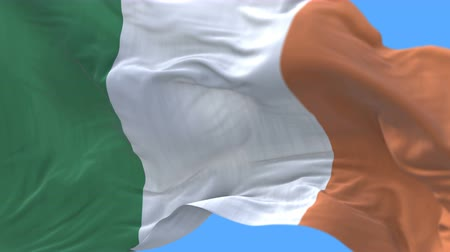 territorial : 4k seamless Close up of Ireland flag slow waving with visible wrinkles.A fully digital rendering,The animation loops at 20 seconds.flag 3D animation with alpha channel included.