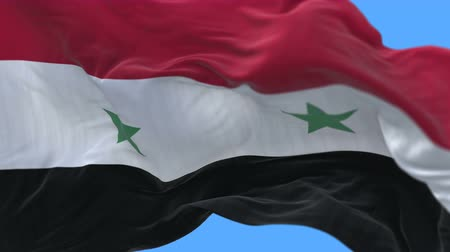 completion : 4k seamless Close up of Syria flag slow waving with visible wrinkles.A fully digital rendering,The animation loops at 20 seconds.flag 3D animation with alpha channel included. Stock Footage