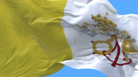 papież : 4k seamless Close up of Vatican City Holy See flag slow waving with visible wrinkles.A fully digital rendering,The animation loops at 20 seconds.flag 3D animation with alpha channel included. Wideo