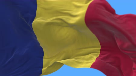 romeno : 4k seamless Close up of Romania flag slow waving with visible wrinkles.A fully digital rendering,The animation loops at 20 seconds.flag 3D animation with alpha channel included.