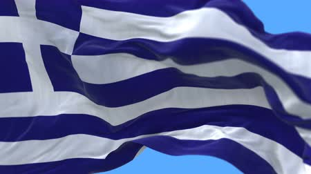 акрополь : 4k seamless Close up of Greece flag slow waving with visible wrinkles.A fully digital rendering,The animation loops at 20 seconds.flag 3D animation with alpha channel included.