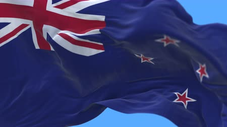 ensign : 4k Close up of New Zealand flag waving in wind.A fully digital rendering,The animation loops at 20 seconds.flag 3D animation with alpha channel included.