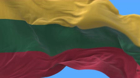 lietuvos : 4k Close up of Lithuania flag waving in wind.A fully digital rendering,The animation loops at 20 seconds.flag 3D animation with alpha channel included.