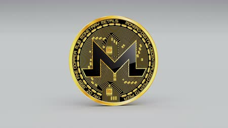 pile of money : 4k Monero coin XMR Crypto Currency icon 3D rotates finance monetary business animation.