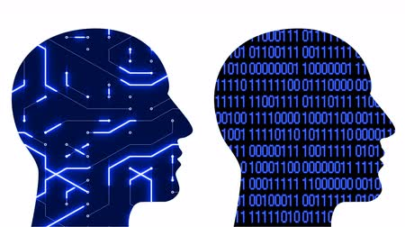 e mail : 4k Brain head connect  the matrix circuit style binary code,people man thinking expanding AI artificial intelligence science,future tech animation creative background,two people face each other.