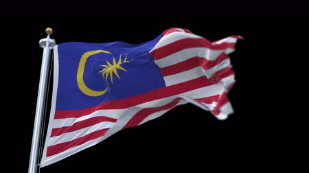 ensign : 4k seamless Malaysia flag waving in wind.A fully digital rendering,The animation loops at 20 seconds.flag 3D animation with alpha channel included. Stock Footage