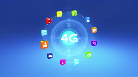 típico : 4k 4G symbol,virtual internet concept,on-line services gadgets icons-discussion,social media,e-mail,e-shop,cloud computing,music,smartphone,chart,lock. Stock Footage