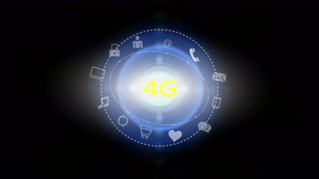 on site research : 4k 4G symbol,virtual internet concept with rays light,on-line services gadgets icons-discussion,social media,e-mail,e-shop,cloud computing,music,smartphone,chart,lock.