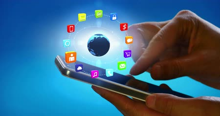 paylaşımı : 4k browsing world of information on a smartphone,rotation earth,virtual internet concept,on-line services icons-discussion,social media,e-mail,e-shop,cloud computing,music,smartphone,chart,lock.