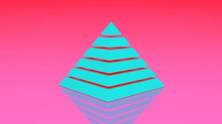 стабильность : 4k Pyramid triangle geometry design element abstract object mystery background.