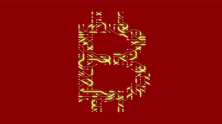 electron : 4k a futuristic circuit board with moving electrons shaped bitcoin currency sign,block chain,abstract electronic connections,Cripto currency bitcoin.Global internet finance,worldwide.