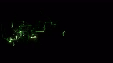 dynamic abstract : 4k lightning electromagnetic wire energy field,green electrons,Circuit board,fiber optic transmission,Futuristic tech background.Network connections. Stock Footage