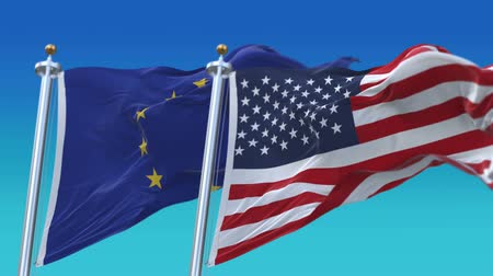 demokratický : 4k Seamless Usa United States of America And European Union EU Flags with blue sky background.