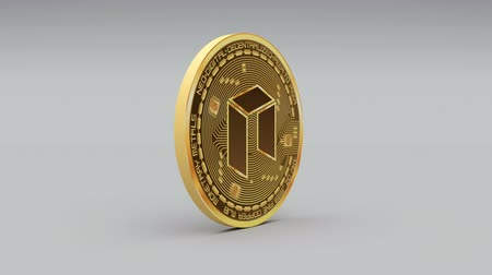 şifreleme : 4k NEO coin Crypto Currency Logo 3D rotates finance monetary business animation.
