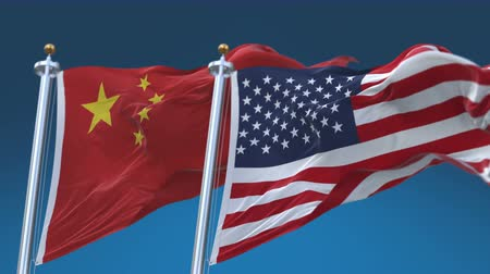 demokratický : seamless Usa And China Flags with blue sky background,A fully digital rendering,The animation loops at 20 seconds.flag 3D animation with alpha channel included.