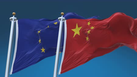 marş : 4k Seamless European Union EU and China Flags with blue sky background,A fully digital rendering,The animation loops at 20 seconds,EU CN.