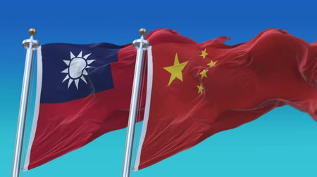 demokratický : 4k Seamless Taiwan and China Flags with blue sky background,A fully digital rendering,The animation loops at 20 seconds,TWN CN.