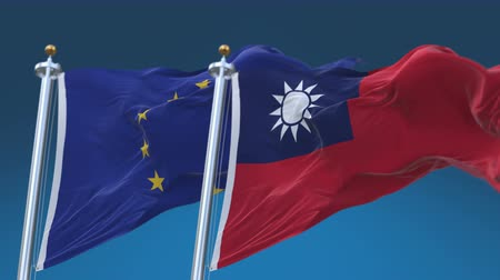 volby : 4k Seamless Taiwan and European Union Flags with blue sky background,A fully digital rendering,The animation loops at 20 seconds,TWN EU.