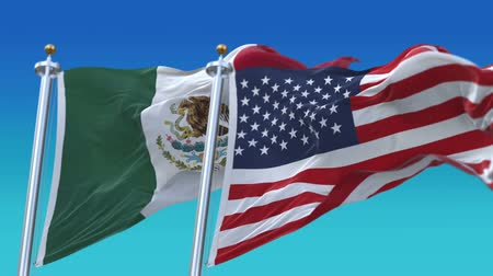 marş : 4k Seamless United States of America And Mexico Flags with blue sky background,A fully digital rendering,The flag 3D animation loops at 20 seconds,USA MEX.