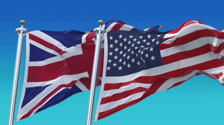 marş : 4k Seamless United States of America And Britain England United Kingdom Flags with blue sky background,A fully digital rendering,The flag 3D animation loops at 20 seconds,USA UK.