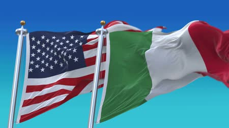 marş : 4k Seamless United States of America And Italy Flags with blue sky background,A fully digital rendering,The flag 3D animation loops at 20 seconds,USA ITA.