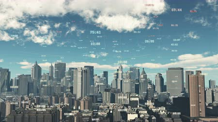 on site research : 4k timelapse cloud fly over urban building and skyscrapers,NewYork City Scene.a financial tech digital data globe,tech network,complexity and data flood of modern digital age. Stock Footage