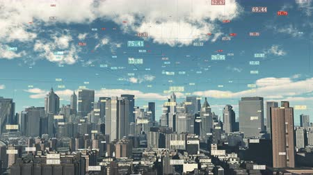 vasalás : 4k timelapse cloud fly over urban building and skyscrapers,NewYork City Scene.a financial tech digital data globe,tech network,complexity and data flood of modern digital age.Business figures. Stock mozgókép