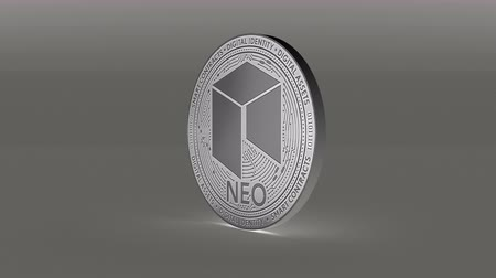 платить : 4k NEO coin Crypto Currency Logo 3D rotates finance monetary business animation.