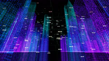 sel : 4k Big Data Digital city,flying through the binary code night urban with numbers and grids.Business and tech network Concept.globe economic index,complexity and data flood of modern digital age.