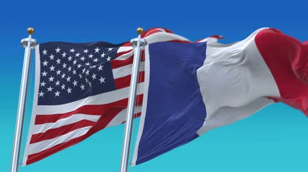 memorial day : 4k Seamless United States of America And France Flags with blue sky background,A fully digital rendering,The flag 3D animation loops at 20 seconds,USA FRA.