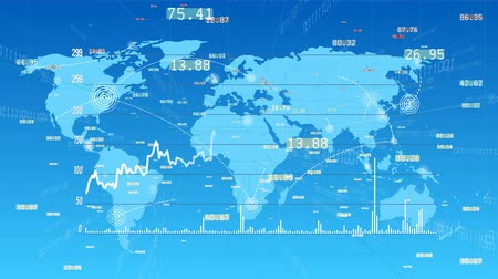 localização : 4k Growing Business Data trend Graph,financial chart,figures wall and diagrams showing change profits.internet digital tech,Global internet worldwide,World connections with wireless lines path,map. Stock Footage