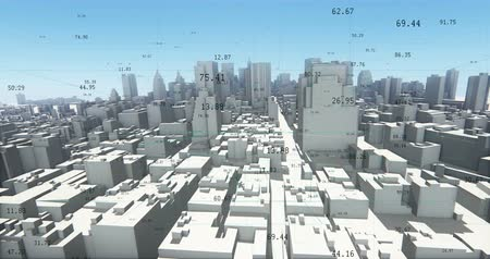 estatístico : flying through 3d urban building and skyscrapers,a financial tech digital data globe,tech network,complexity and data flood of modern digital age.