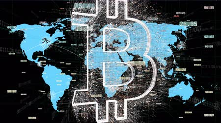 alerta : 4k BTC symbol.Cripto currency bitcoin.World connections with web lines path,global map,growing global Network with communication,financial digital data,complexity and data flood of modern digital age.