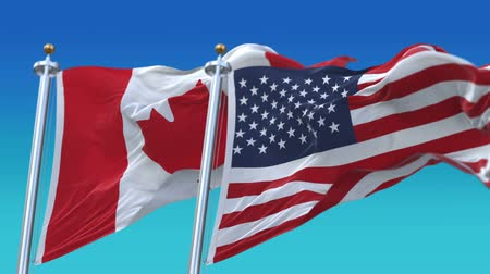 marş : 4k Seamless United States of America And Canada Flags with blue sky background,A fully digital rendering,The flag 3D animation loops at 20 seconds,USA CAN CA.