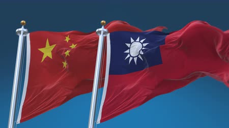 yumuşaklık : 4k Seamless Taiwan and China Flags with blue sky background,A fully digital rendering,The animation loops at 20 seconds,TWN CN.