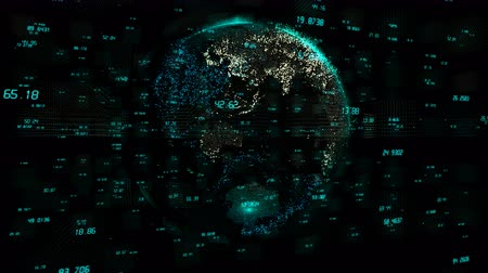 índice : 4k digital data globe,a scientific tech data network surrounding planet earth conveying connectivity,complexity and data flood of digital age.Business Data wall,Financial figures.network numbers.