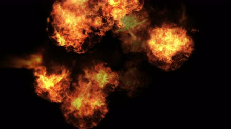 szédülés : 4k Hot fire burning background. Abstract of powerful explosion particle smoke power firework energy.
