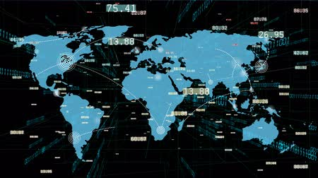 localização : 4k World connections with lines path,global map,growing global Network with communication,binary code background,financial data wall,complexity and data flood of modern digital age.Business figures. Stock Footage