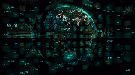 investigar : 4k digital data globe,a scientific tech data network surrounding planet earth conveying connectivity,complexity and data flood of digital age.Business Data wall,Financial figures.network numbers.